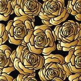 Rose flower seamless pattern. Gold roses on black background. St. Ock vector.rr Stock Photography