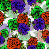 Rose flower seamless pattern, vector background. Flowers roses in unusual bright colors creative, purple bud,  orange Stock Photo