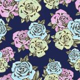 Rose flower seamless pattern, vector background. Flowers roses in unusual colors creative, blue bud,  pink and yellow Stock Images