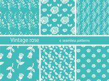 Rose flower set vintage patterns Royalty Free Stock Images