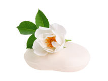 Rose flower on soap Stock Images