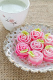 Rose flower sweet (ALUA GULAB )Thai dessert  with cup of tea Royalty Free Stock Image