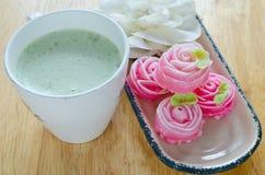 Rose flower sweet (ALUA GULAB )Thai dessert  with milk gr Royalty Free Stock Photos