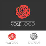 Rose flower symbol. Concept sign flower shop. A logo template. Vector illustration, isolated on white and black background royalty free illustration