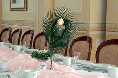 Rose flower on table. Rose flower on pink banquet table stock photos