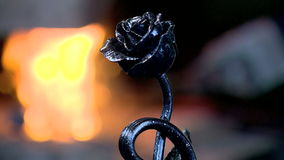 Rose, flower, to make red hot, symbol. A blacksmith forges from a metal work of art stock video