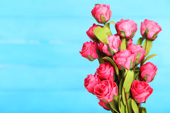 Rose flower on the vase, on blue background Stock Photography