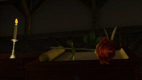 Rose Flower vermelha na luz do castiçal ilustração do vetor