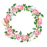 Rose flower wreath with feathers. Floral circle border. Watercolor Stock Photo