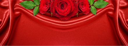 Rose flowers arrangement on red satin Royalty Free Stock Image