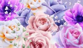 Rose flowers background watercolor Vector. Beautiful vintage pastel colors floral decors banner vector illustration