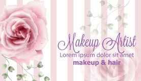 Rose flowers background watercolor Vector. Delicate vintage pastel pink color floral decors banners stock illustration