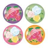 Rose flowers - beautiful icon set stock illustration