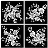 Rose Flowers bianca nera Immagine Stock Libera da Diritti