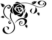 Rose flowers black silhouette illustration Stock Photography