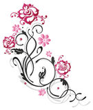 Rose, flowers, border. Black tendril with pink roses and flowers Stock Photography
