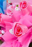 Rose flowers bouquet made from satin cloth Stock Photo