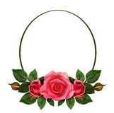 Rose flowers composition and oval frame Stock Photo