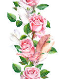 Rose flowers and feathers frame. Seamless repeating floral border. Watercolour Royalty Free Stock Photo