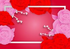 Rose flowers and frame on pink background with copy space royalty free illustration