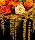 Rose flowers among hay stock photography