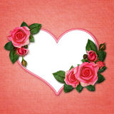 Rose flowers and heart. On pink canvas background Royalty Free Stock Photos