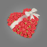 Rose flowers heart with white ribbon Royalty Free Stock Image