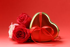 Rose flowers and holiday gifts for St. Valentine Royalty Free Stock Images