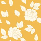 Rose flowers leaves seamless pattern yellow orange. Rose flowers and leaves seamless pattern texture on bright orange yellow background. Summer autumn floral Stock Photo