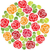 Rose flowers ornament in circle Stock Photos
