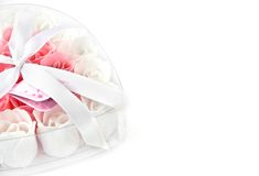 Rose flowers pink and white soap Royalty Free Stock Photography
