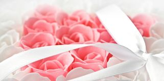 Rose flowers pink and white soap Stock Photos