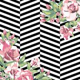 Rose flowers print pattern in black white geometric  Royalty Free Stock Images