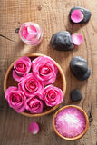 Rose flowers, salt and spa stones Royalty Free Stock Images