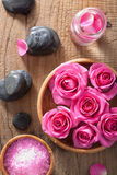 Rose flowers, salt and spa stones Royalty Free Stock Image