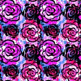 Rose flowers seamless hand craft expressive ink pattern. Royalty Free Stock Photography