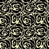 Rose flowers seamless hand craft expressive ink pattern. Royalty Free Stock Photos