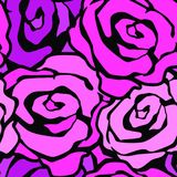 Rose flowers seamless hand craft expressive ink pattern. Funky style painted texture, poster with different doodles for fabric, wrapping, decoration, greeting Royalty Free Stock Images