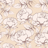 Rose Flowers Seamless Pattern dans le style de vintage Photos libres de droits