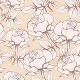 Rose Flowers Seamless Pattern nello stile d'annata Fotografie Stock Libere da Diritti