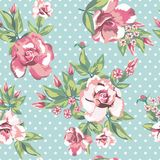 Rose flowers seamless pattern in white polka dots mint backgroun Stock Images
