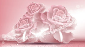 Rose flowers sparkling background. Ads template, droplet mock up  on dazzling roses backdrop. Place for brand Royalty Free Stock Images