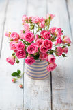 Rose flowers in vase. Beautiful romantic bouquet Stock Image
