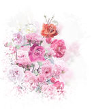 Rose flowers watercolor Stock Images