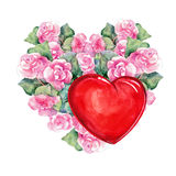 Rose  flowers wreath , heart,  watercolor Royalty Free Stock Photo