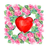 Rose  flowers wreath , heart,  watercolor Royalty Free Stock Image