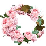 Rose flowers wreath template Vector. Realistic 3d decor illustration. S stock illustration