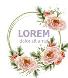 Rose flowers wreath watercolor Vector. Romantic floral invitation or greeting card decoration. Women day, Valentines Day, sales stock illustration