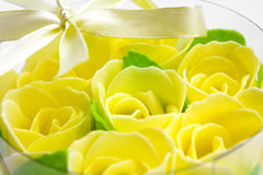 Rose flowers yellow made of soap Stock Image