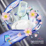 Rose fragrance dishwasher detergent tabs ads. Vector realistic Illustration with dishes in water splash and flowers. Poster Royalty Free Stock Photography